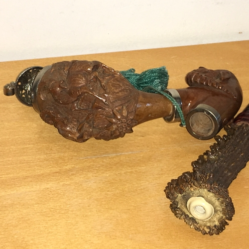 905 - Large Carved Wooden Three Piece Pipe. Carved end in the form of a rams head supporting a detachable ...