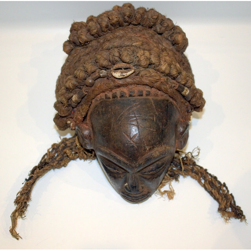 327 - 19thC African Tribal Art, Mask Of Small Proportions, With Elaborate Braided Hair Indset With Sea She...