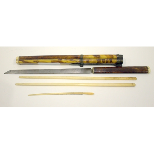 331 - 19thC Japanese Tortoise Shell Travelling Chopsticks, Knife And Toothpick Set In Ivory Tipped Scabbar...
