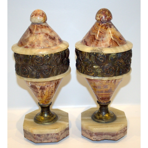 404 - Pair Of French Art Deco Marble Shaped Urns, With Ormolu Mounts, Height 12 Inches, 1 Chipped...