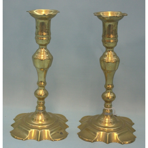 606 - Pair Of Antique George I Petal Based Brass Candlesticks, Height 9.5 Inches...
