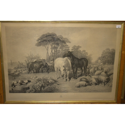 593 - Large Framed And Glazed Engraving After J F herring Senior By William Giller, Titled Waiting For The...