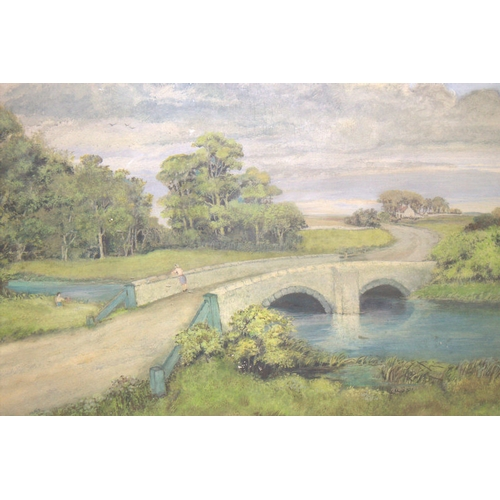 591 - G Johnson 1950, Large Glazed & Framed Gouache, Painted On Board, Depicting A Country Road With Figur...