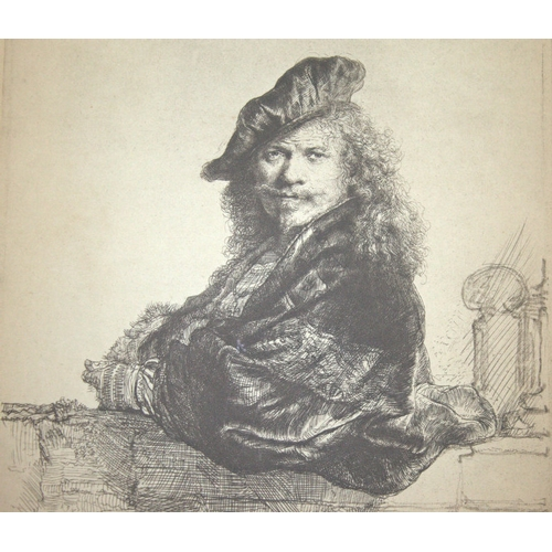 587 - Antique Rembrandt Print, Self Portrait Dated 1639, 7x9 Inches...