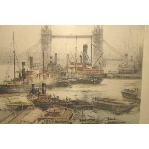 588 - HENRY G WALKER Fine Coloured Etching Of Tower Bridge In The Pool Of London With Shipping, By Listed ...
