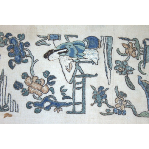 343 - Antique Chinese Sleeve Silk Embroidered Panel, Of Fine Quality Stitching Depicting Elegant Ladies Te...
