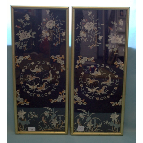 348 - Antique Chinese Pair Of Fine Quality Silk Embroidered Panels Depicting Butterflies Amongst Flowers, ...