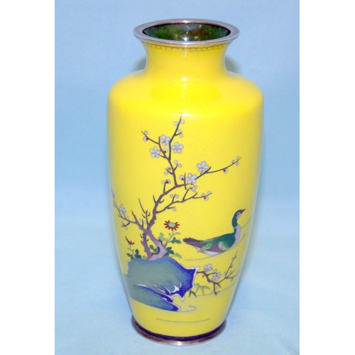 362 - Japanese Rare Yellow Ground Cloisonne Vase On Silver, Depicting a Duck Amongst Flowering Cherry Blos...