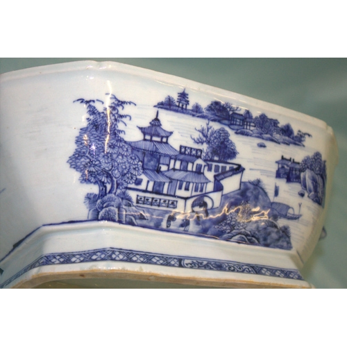 359 - Early 18thC Chinese Blue & White Export Tureen, Nanking Kilns, Of Large Size. Unusual Rodent Head Tw...