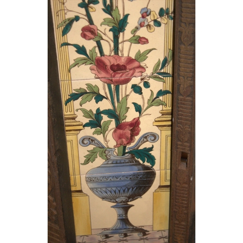 782 - A Victorian Style Cast Iron Fireplace Insert, With An Art Nouveau Floral Tile Surround. 39 x 38 Inch...
