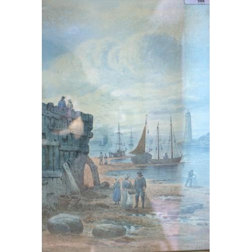 586 - J S ELLIOT Watercolour Of A Harbour Quay Scene With Fisher Folk On The Beach, signed J.S. Elliot, La...