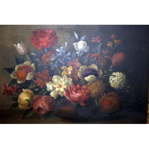 585 - Antique Dutch Floral Oil Painting On Canvas, Roses And Tulips Signed Indistinctly JAN VAN BEESEN In ...