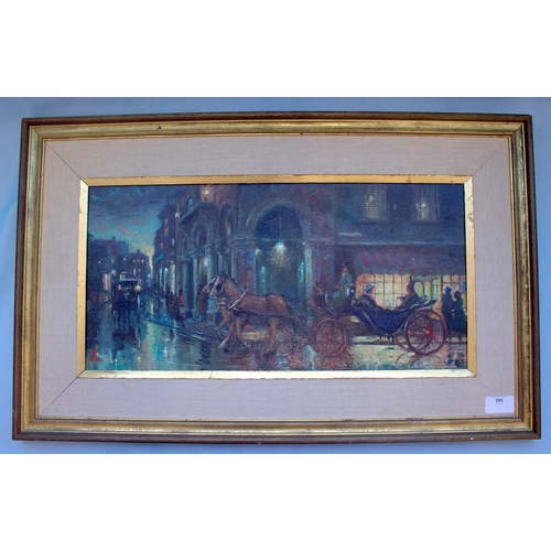 584 - R. KITCHEN Impressionist Oil Panel Depicting A Paris Street Scene At Night With Figures In Horse Car...