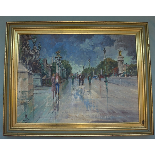 583 - R KITCHEN Impressionist Oil On Board, Title April In Paris, Depicting Figures On A Boulevard, 12x14 ...