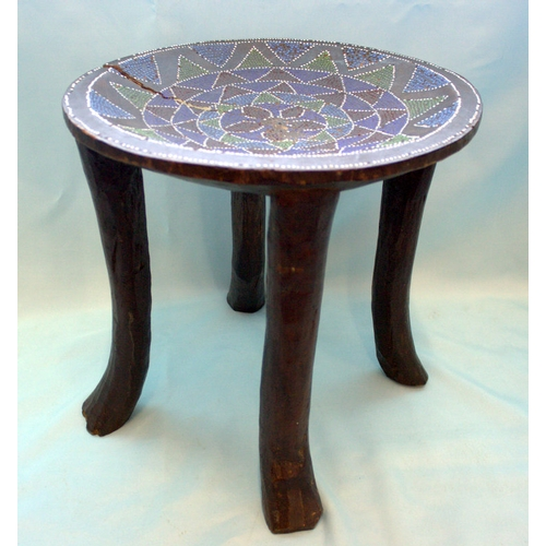 549 - Antique African 4 Legged Stool, Glass Beads Inlaid To The Bowl Top, Height 13 Inches, Diameter 13 In...