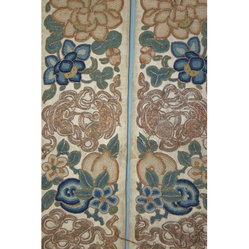 391 - Fine Pair Of 18/19thC Antique Chinese Silk Stitch Embroidered Sleeve Panels With Gold Thread, Depict...