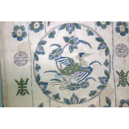 390 - Antique Chinese Sleeve Silk Embroidered Panel Of Fine Quality Depicting Exotic Birds In Roundels Wit...