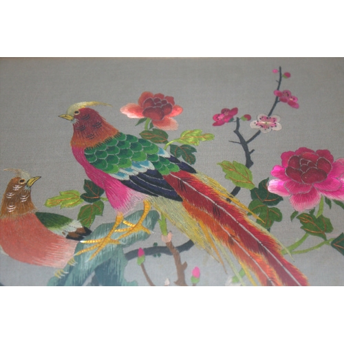 387 - Fine Quality Antique Chinese Embroidered Silk Panel Depicting Exotic Birds Perched In A Rose Tree, F...