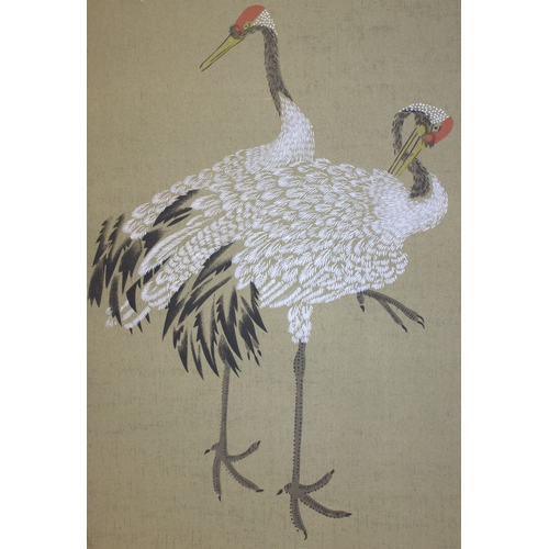386 - Meiji Period Watercolour Drawing Of Two Royal Red Cranes, Painted On Paper With Inscriptions, 14x38 ...