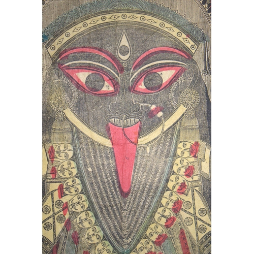 400 - Very Rare Antique Wood Block Print Of Kali From The Era Of The Battala Printers (c1860-70) NRITYA.LA...
