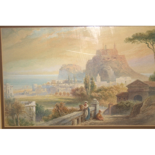 521 - 19thC Framed Watercolour, Depicting An Arcadian Mediterranean Harbour Town, With Figures To The Fore...