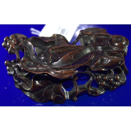 355 - 18th/19thC Chinese Mutton Fat Jade Brush Washer, In The Form Of A Shaped Vine Leaf With Two Squirrel...