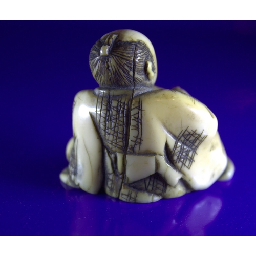 239 - Antique Ivory Netsuke, Man Smoking A Pipe...