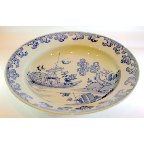340 - Early 18thC Chinese Export Soup Dish, Underglaze Blue & White, Depicting A Sailing Ship With A Gnarl...