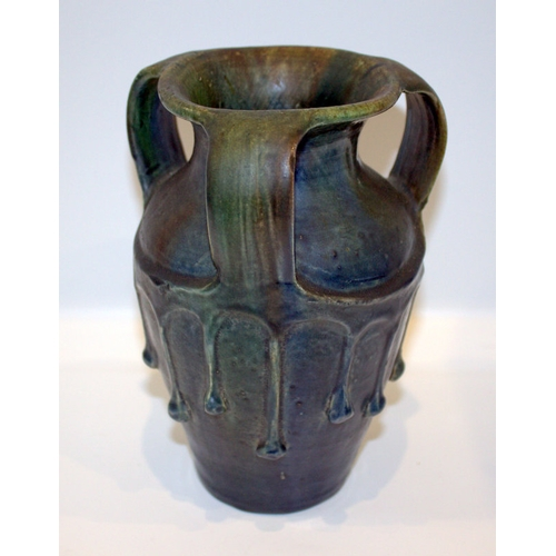 520 - Unusual German Art Pottery Three Handled Vase With Thick Running Iridescent Glaze, c1902, Westwalds ...