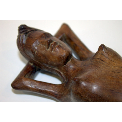 546 - South Seas Hardwood Carving Of A Native Girl In The Form Of A Nutcracker, Length 12 Inches...