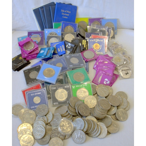 130 - Quantity Of Commemorative Coins & Crowns To Include Blackpool Fair 1970 Half Penny, 1981 Isle Of Man...