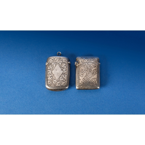 214 - 2 Silver Vesta Cases, Both With Hinged Lids, Strikers To Bottom And Fully Hallmarked, One With Leaf ...