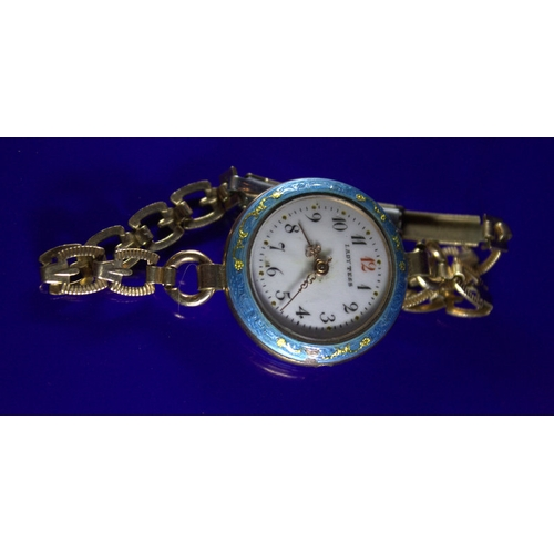 4 - Guilloche Enamel Ladies Watch, White Enamel Face Marked Lady Tess, With Blue Surround And Back, Some...