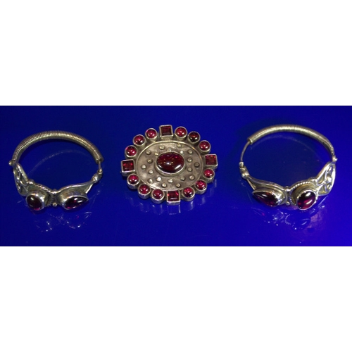 8 - Pair Of Large Indian Style Silver Hoop Earrings With Red/Purple Coloured Stones, Together With A Sim...