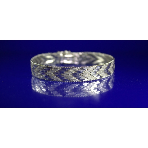9 - Silver Chevron Weave Style Bracelet, Length 8 Inches, Width 12mm,Stamped 925, 27.5g...