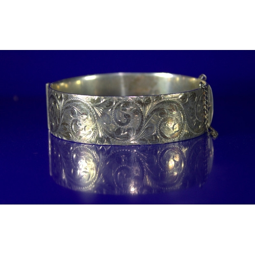 10 - Georg Jensen Solid Silver Hinged Bangle, Foliage Engraved To Front, Safety Chain, Fully Hallmarked F...