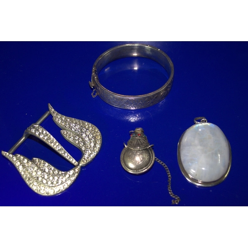 38 - Small Mixed Lot Comprising A Silver Fully Hallmarked Hinged Bangle, A Large Stone Pendant, A White M...