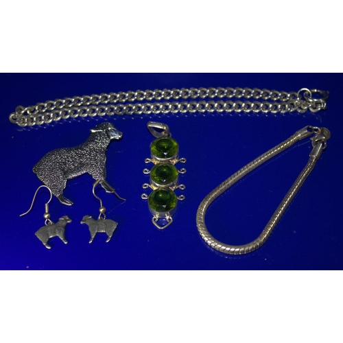39 - Mixed Collection Of Jewellery To Include A Silver Snake Chain Bracelet, A Large Silver Green Stone P...