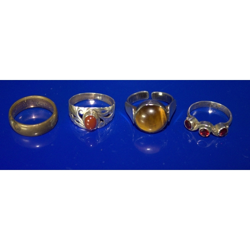 45 - Silver Tigers Eye Ring Stamped Israel 925 Together With 2 Silver Stone Set Rings And One Other...