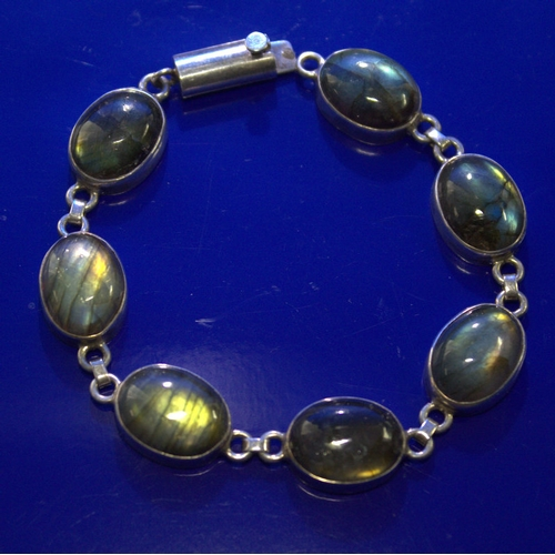 89 - Silver Stone Set Bracelet, Appears Unmarked, Length Approx 8 Inches...
