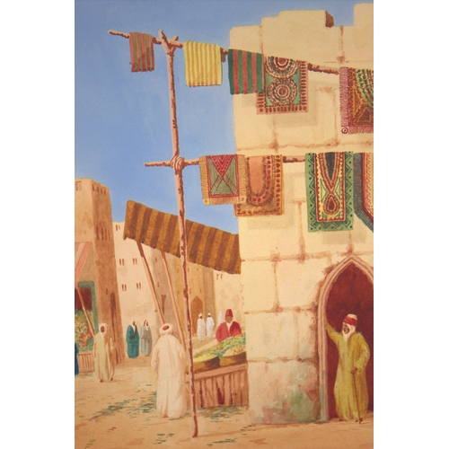 581 - Signed Watercolour, Arab Carpet Seller, Unframed, Signed Claude Dupres, 14 x 20 Inches...