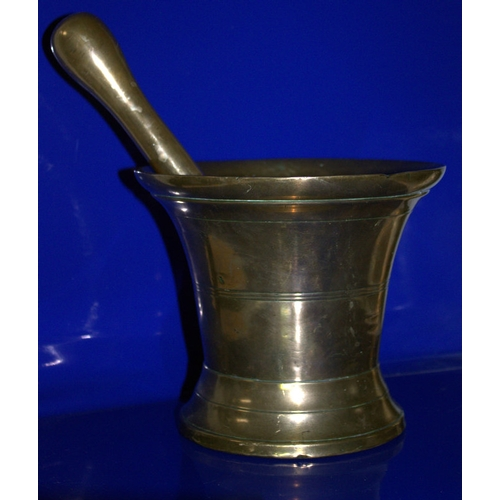 490 - Large Bronze Pestle And Mortar, c1700's With Ribbed Bell Shaped Body And A Large Tear Drop Pestle, H...