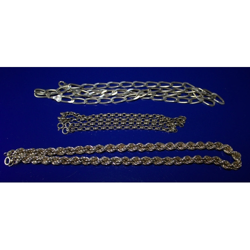 26 - 3 Silver Chains, Flat Curb, Rope And Belcher...