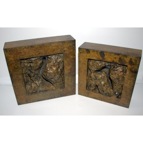 126 - Anita Weil Benador Pair Of Modernist Bronze Sculptures Of Square Form Dated 1990, 9 & 7.5Inches Squa...