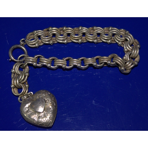 54 - 19thC Continental Silver Fancy Link Bracelet With Attached Heart Shaped Hollow Fob...