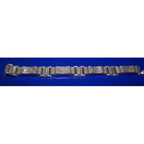 58 - Late 19th Early 20thC Continental Silver Bracelet, Fully Hallmarked, Length 7.5 Inches...