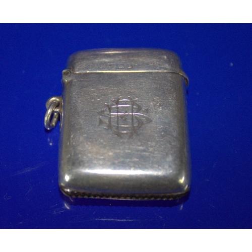 125 - Silver Vesta Case, Fully Hallmarked, Plain With Monogram, Striker To Bottom, Hallmarked For Birmingh...