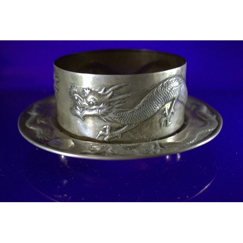 236 - Unusual Antique Chinese Silver Footed Coaster Stand, Makers Mark TC For Tuck Chang, Shanghai. Finely...