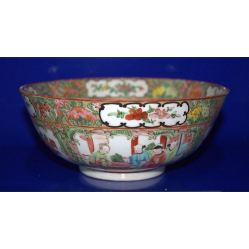 375 - 19thC Canton Export Bowl In The Mandarin Pattern In The Famille Rose Design, Diameter 8 Inches...