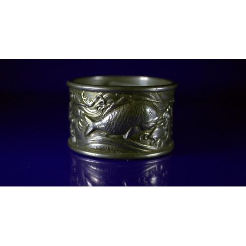 378 - Japanese White Metal Napkin Ring, Moulded With Aquatic Life, With Japanese Script...